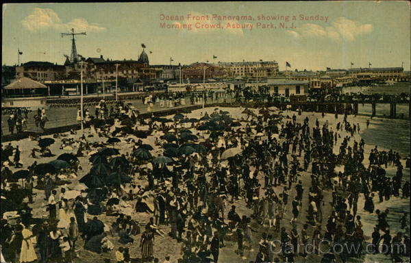 Ocean Front Panorama showing a Sunday Morning Crowd Asbury Park New Jersey