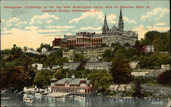 Georgetown University on hill top with Washington Canoe Club on Potomac River at Aqueduct Bridge District of Columbia