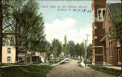 South Main Street and Catholic Church Postcard
