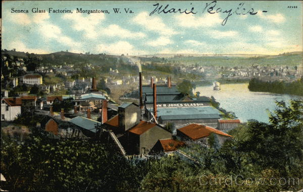 Bird's Eye View of Seneca Glass Factories Morgantown West Virginia
