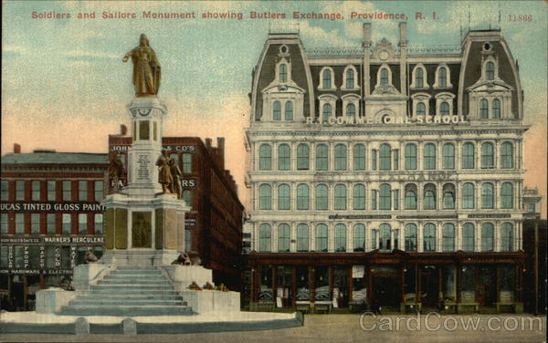 Soldiers and Sailors Monument showing Butlers Exchange Providence Rhode Island