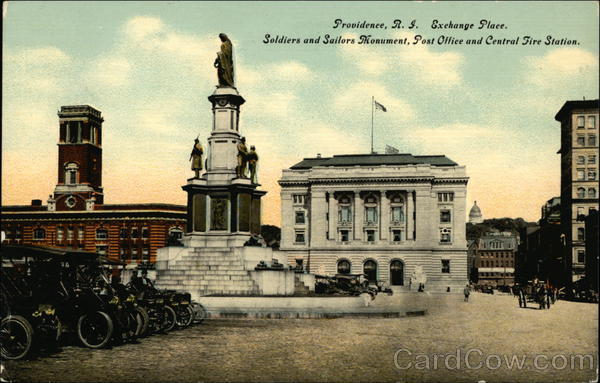 Exchange Place, Soldiers and Sailors Monument, Post Office and Central Fire Station Providence Rhode Island