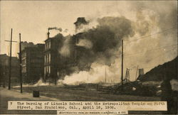 Burning of Lincoln School and the Metropolitan Temple on Fifth Street
