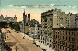Looking West on State Street, showing State Capitol, St Peter's Church and Ten Eyck Hotel