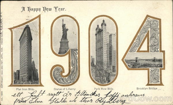 A Happy New Year, 1904 New York Large Letter Dates