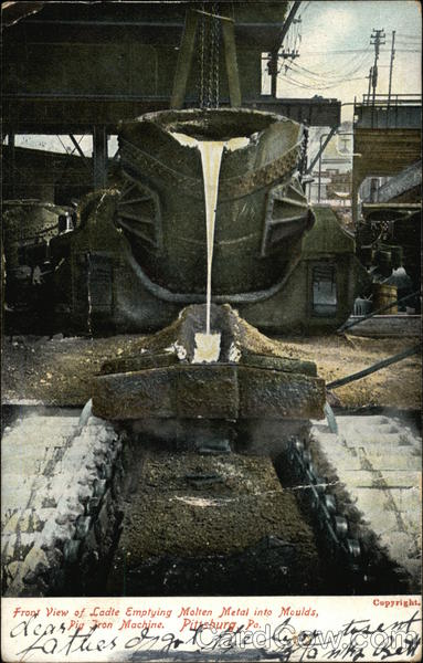 Ladle Emptying Molten Metal into Moulds Pittsburgh Pennsylvania
