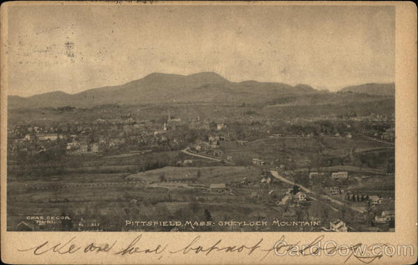 Aerial View of Town, Looking Toward Greylock Mountain Pittsfield Massachusetts