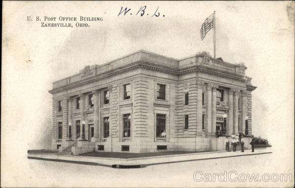 US Post Office Building Zanesville, OH Postcard