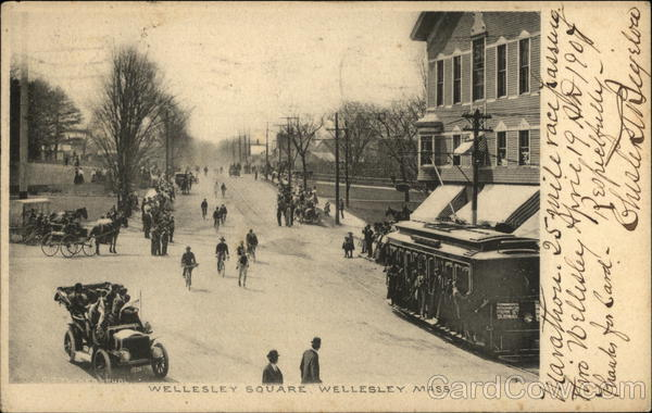 Cars, Horses, and Bicycles in Wellesley Square Massachusetts