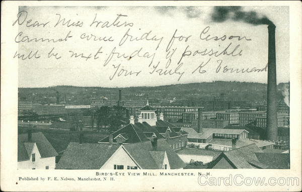 Bird's Eye View of Mill Manchester New Hampshire