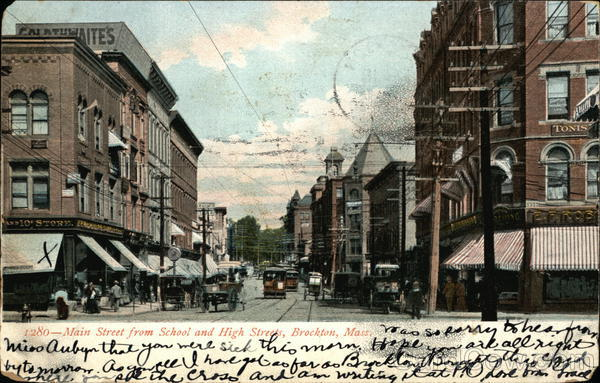 Main Street From School and High Street Brockton Massachusetts