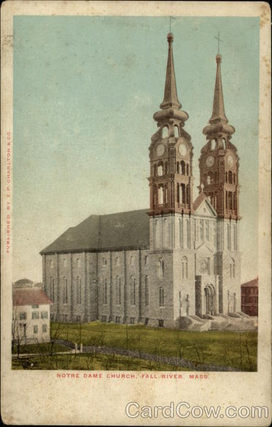 Notre Dame Church Fall River Ma Postcard