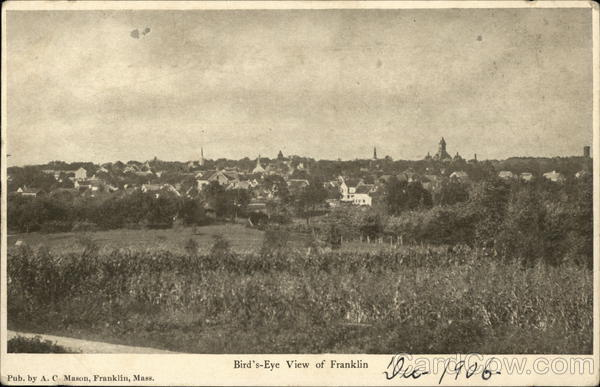 Bird's-Eye View of Franklin, Mass Massachusetts
