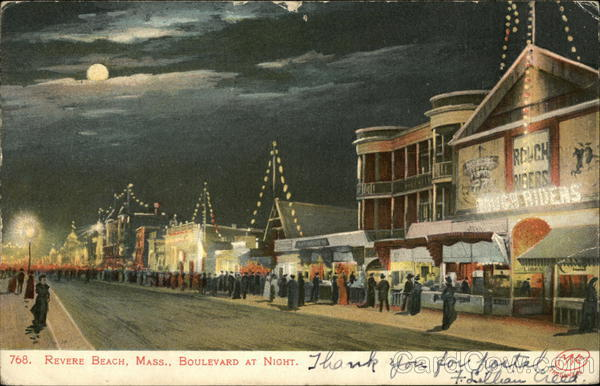 Boulevard at Night Revere Beach Massachusetts