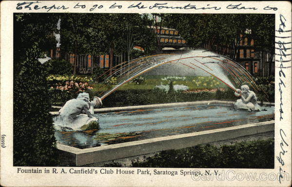 Canfield's Club House Park Fountain Saratoga Springs New York