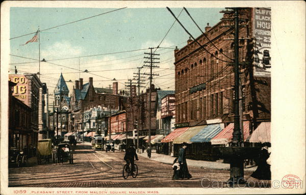Pleasant Street from Malden Square Massachusetts