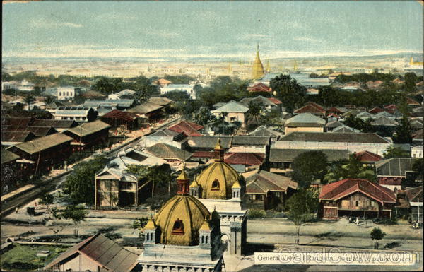 General View of Rangoon, From Top of Public Offices Yangon Burma (Myanmar)