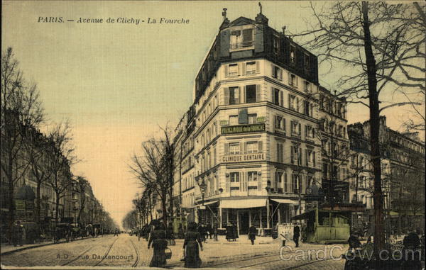 View of Avenue de Clichy (Fork in the Road) Paris France