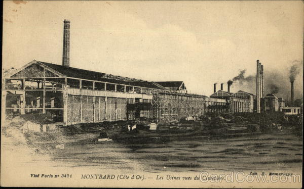 Factories viewed from Cemetery Montbard France