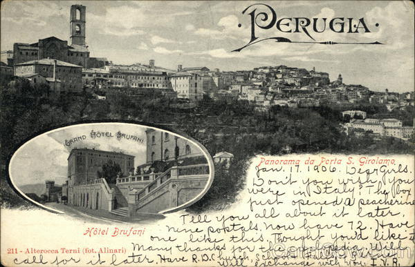 Grand Hotel Brufani and View of Town Perugia Italy