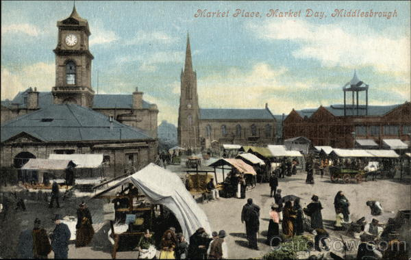 Market Place on Market Day Middlesbrough England