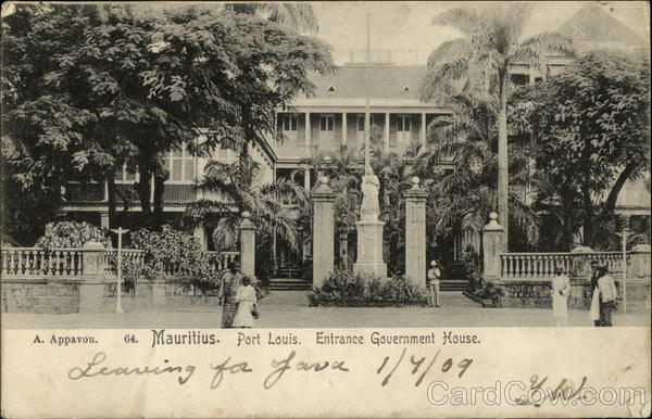 Entrance Government House Port Louis Mauritius Africa