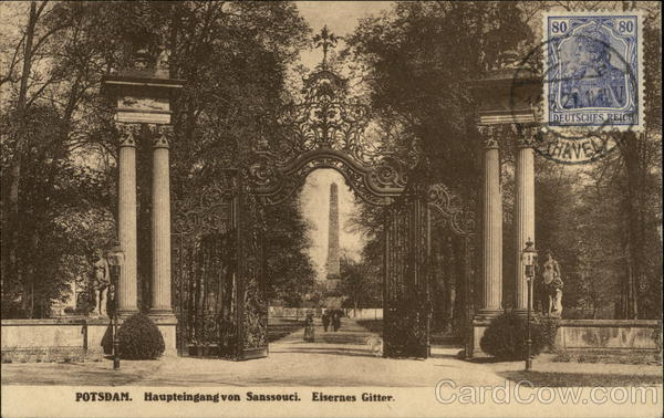 Haupteingang von Sanssouci Potsdam Germany Cancelled on Front (COF)