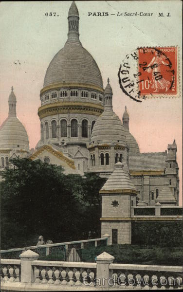 Basilica of the Sacred Heart Paris France Cancelled on Front (COF)
