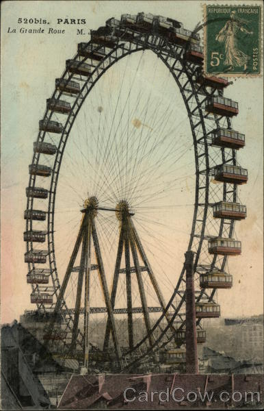 la grande roue ferris wheel paris france postcard. Black Bedroom Furniture Sets. Home Design Ideas