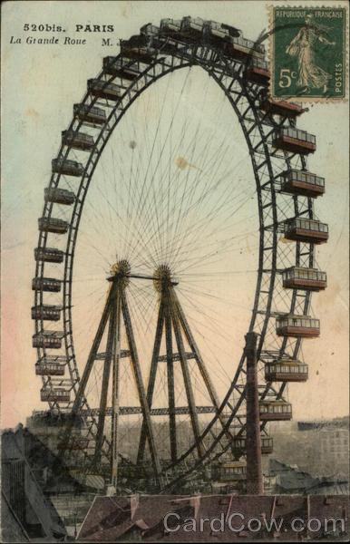 La Grande Roue (Ferris Wheel) Old Postcard