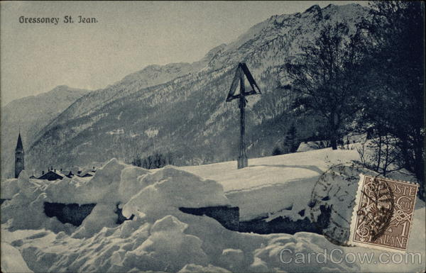Gressoney St. Jean Italy Cancelled on Front (COF)