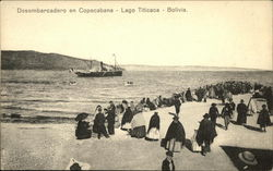 Disembarking at Copacabana, Lake Titicaca, Bolivia