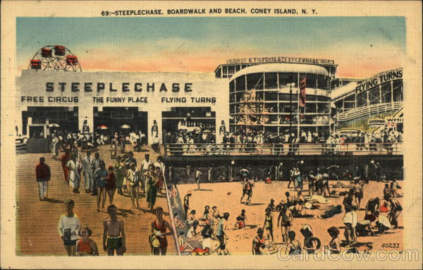 Steeplechase Boardwalk and Beach Coney Island New York