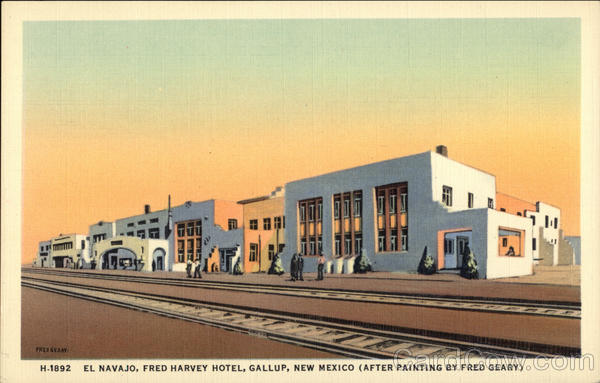 El Navajo, Fred Harvey Hotel (After Painting by Fred Geary) Gallup New Mexico