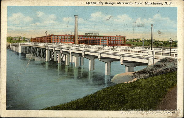 Queen City Bridge over Merrimack River Manchester New Hampshire