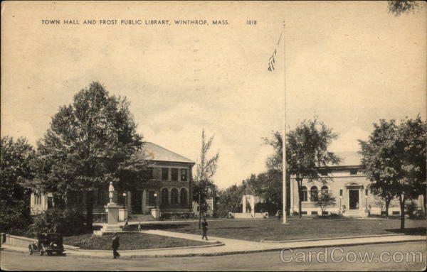 What Is My Paypal Email >> Town Hall and Frost Public Library Winthrop, MA Postcard