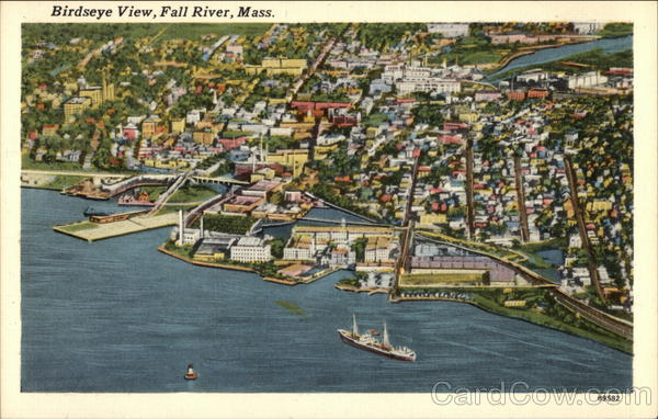 Birdseye View of Water and Shoreline Fall River Massachusetts