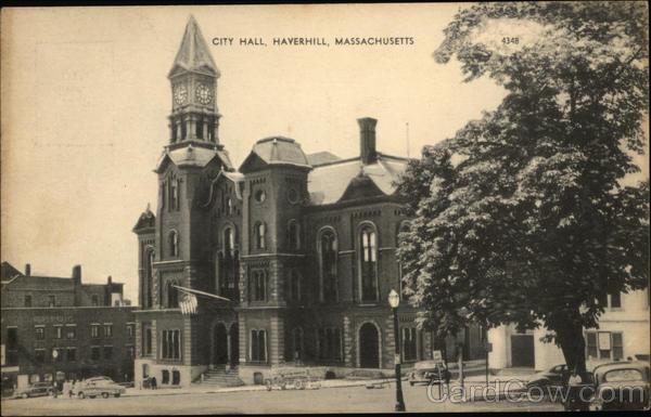 Street View of City Hall Haverhill, MA Postcard