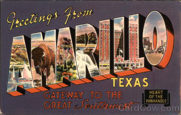 Greetings from Amarillo Texas Large Letter