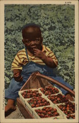 African American Toddler Eating Strawberries