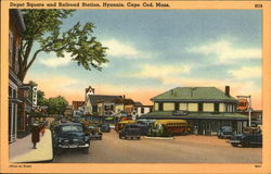 Depot Square and Railroad Station on Cape Cod