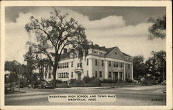 Wrentham High School and Town Hall Postcard