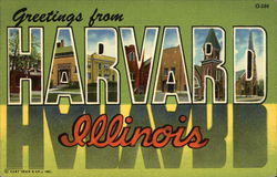 Greetings from Harvard, Illinois Postcard