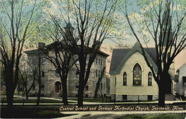 Central School And German Methodist Church Faribault Minnesota