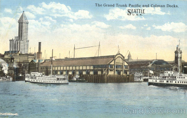 The Grand Trunk Pacific And Colman Docks Seattle Washington