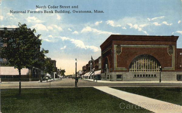 North Cedar Street And National Farmers Bank Building Owatonna Minnesota