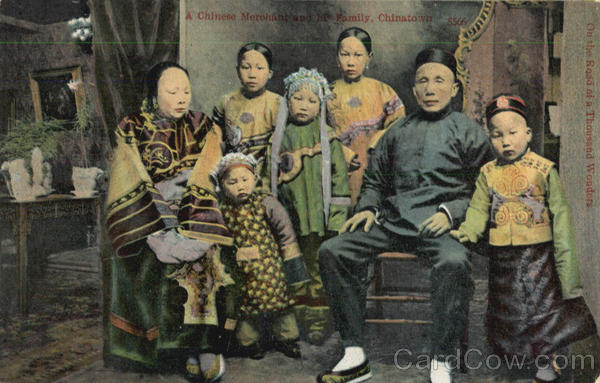 A Chinese Merchant And His Family, Chinatown San Francisco California