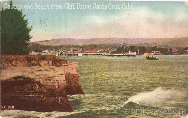 Casino And Beach From Cliff Drive Santa Cruz California