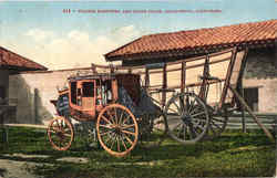 Prairie Schooner And Stage Coach Postcard