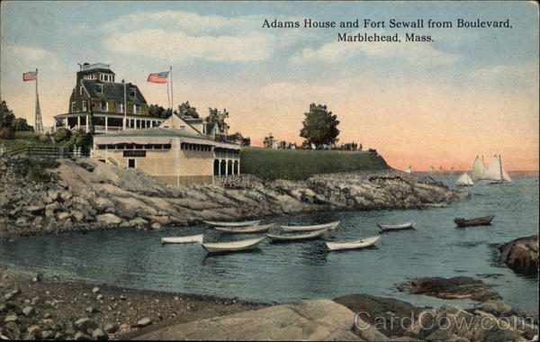 Adams House and Fort Sewall from Boulevard Marblehead Massachusetts